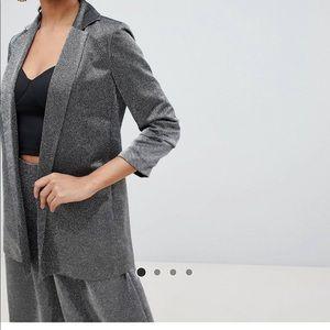 Metallic relaxed suit blazer